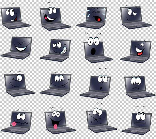 Клипарт - Ноутбук с выражением эмоций (прозрачный фон)