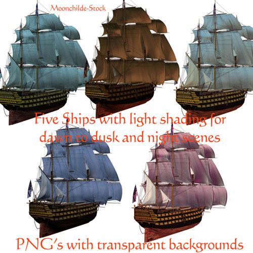 Клипарт - Пиратские парусники