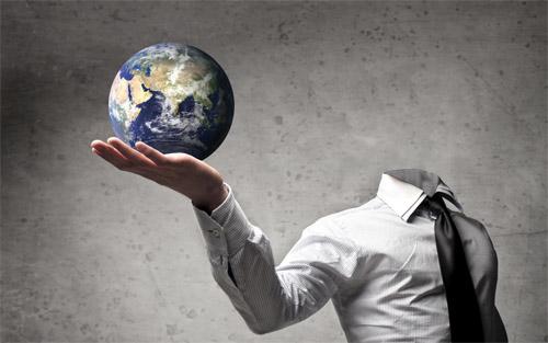Шаблон psd - Земля на руке
