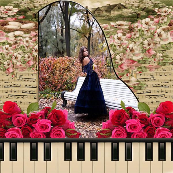 Рамка женская - Старый рояль