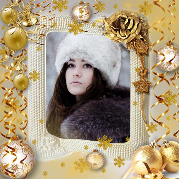 Рамка женская - Золотые снежинки