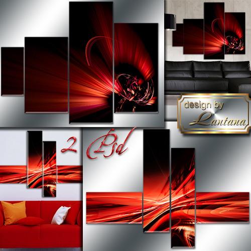 Полиптихи в PSD - Красная абстракция