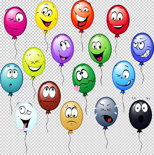 Клипарт -  Шары праздничные  с выражением эмоций (прозрачный фон)