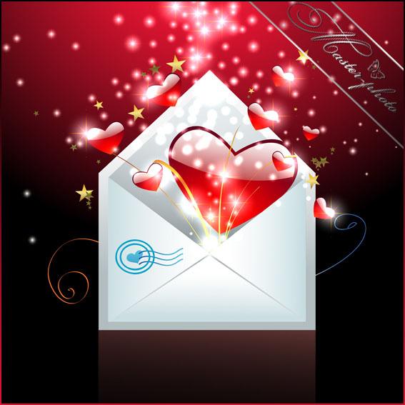 Многослойный PSD исходник - Конверт на день святого Валентина