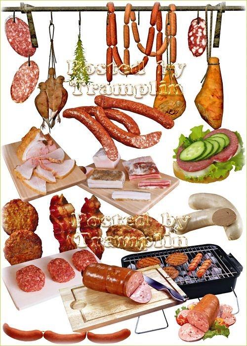 Клипарт – Котлеты, сосиски, колбаса, сало, бутерброды
