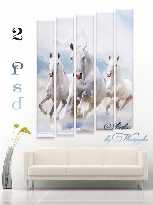 Полиптих, триптих в psd формате - Красивые лошади, кони, скакуны