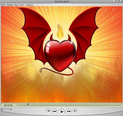 Оригинальный футаж - пылающее сердце