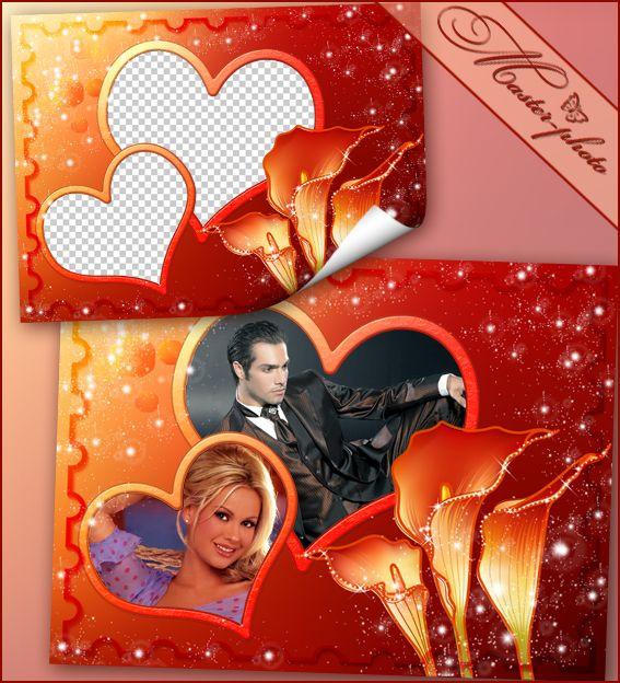 Романтическая фоторамка - Огненные лилии