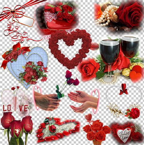 Клипарт к дню влюблённых, прозрачный фон