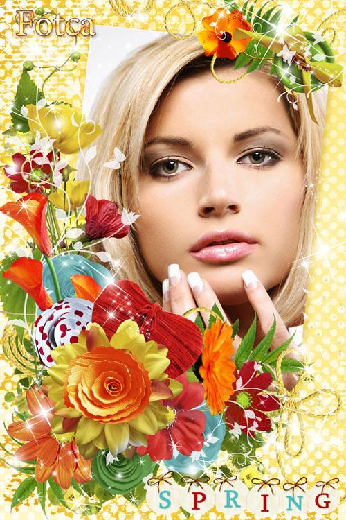 Цветочная рамка для фото - Весенние краски