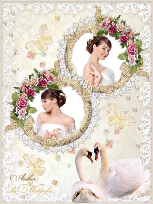Свадебная рамка для фотошопа - Лебеди, розы, бабочки, кружева