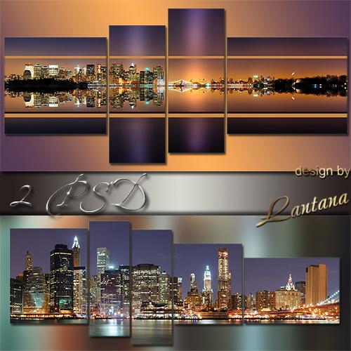 Полиптихи в PSD - Панорама вечернего города