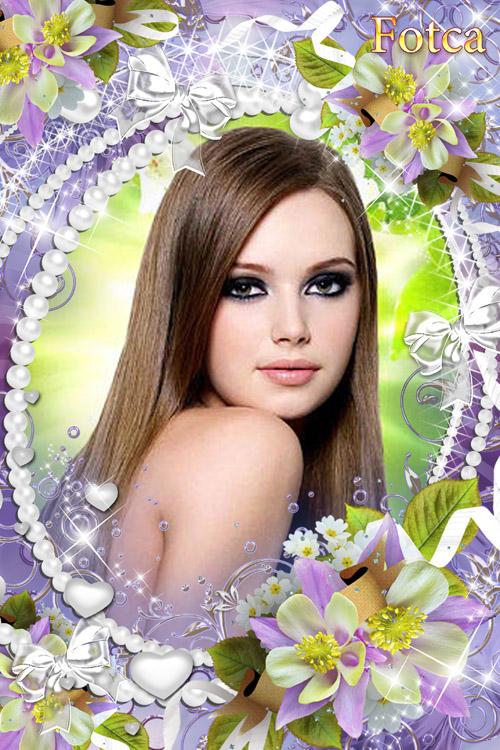 Цветочная рамка для фото - Фиолетовый рассвет