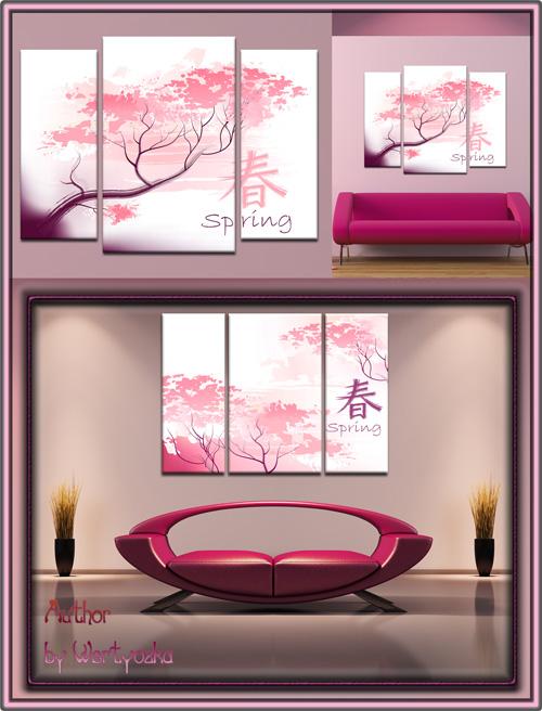 Триптих в psd формате - Сакура, японская вишня, символ Японии
