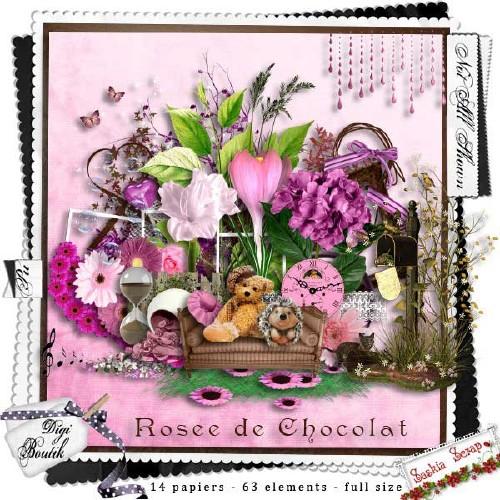 Цветочный скрап-набор - Розы и шоколад