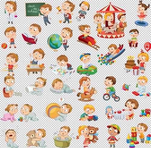 Клипарт -  Мультяшные дети прозрачный фон