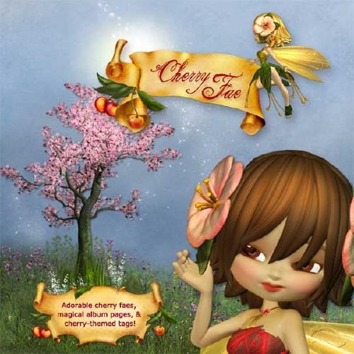 Волшебный детский скрап-набор - Вишнёвые феи