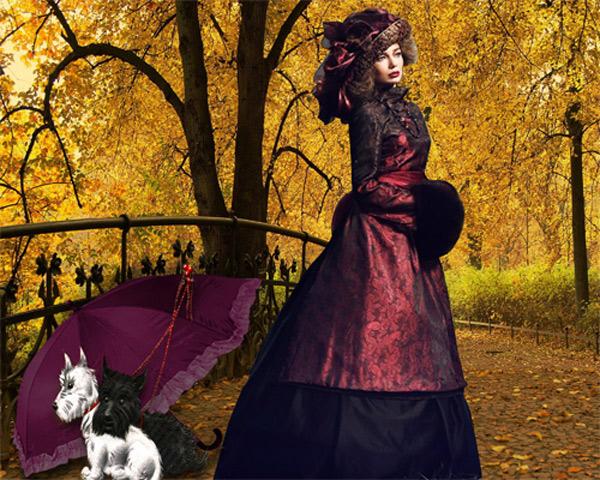 Шаблон женский - Дама с собачками