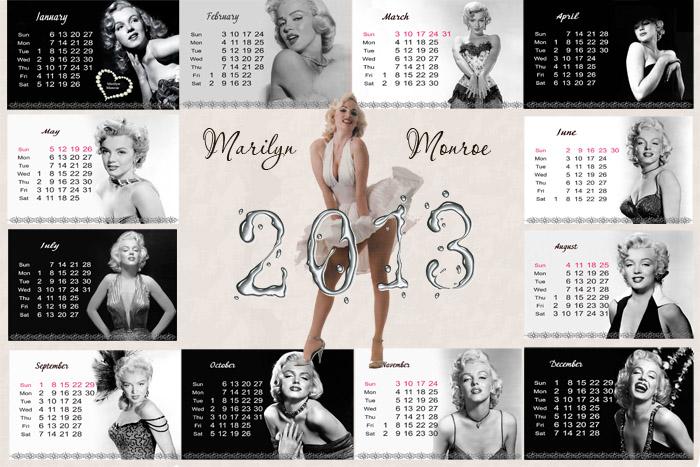 Календарь отрывной на 2013 год помесячный - Мерлин Монро