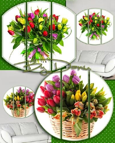 Триптих, два PSD файла - Великолепные тюльпаны
