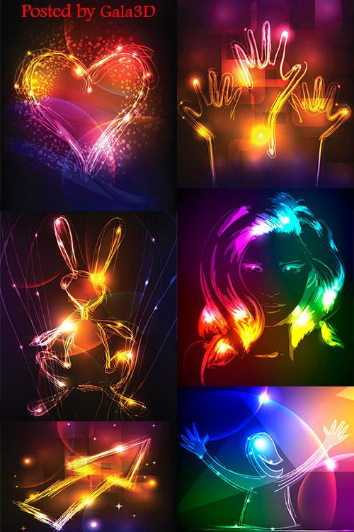 Блестящее, цветное и эффектное свечение в векторе