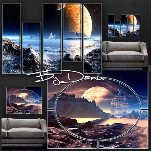 Два полиптиха в PSD формате -  Мы с тобой одни на чужой планете