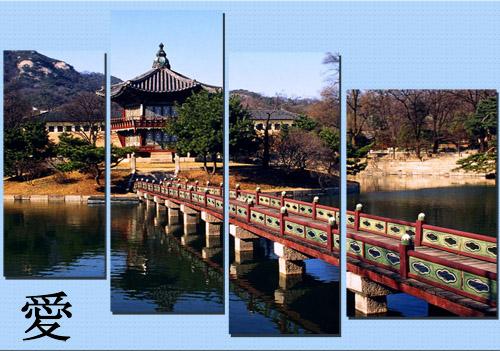 Полиптих в PSD формате - Японский пейзаж