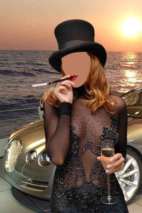Женский шаблон - Девушка с сигарой шампанским возле машины