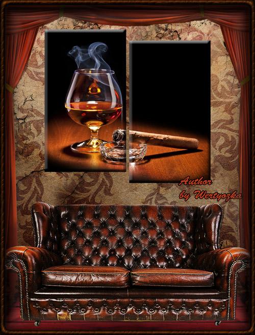 Диптих в psd формате - Бокал с коньяком и сигарой