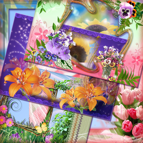 Cборка цветочных фоторамок