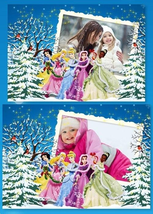 Детская рамка - Зимняя сказка с принцессами