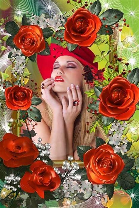 Цветочная рамочка - Розы мне подари,знать хочу я о силе любви