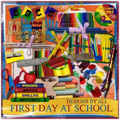 Детский школьный скрап-набор - Первый день в школе