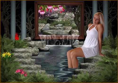 Женский шаблон - Мечта у водного оазиса