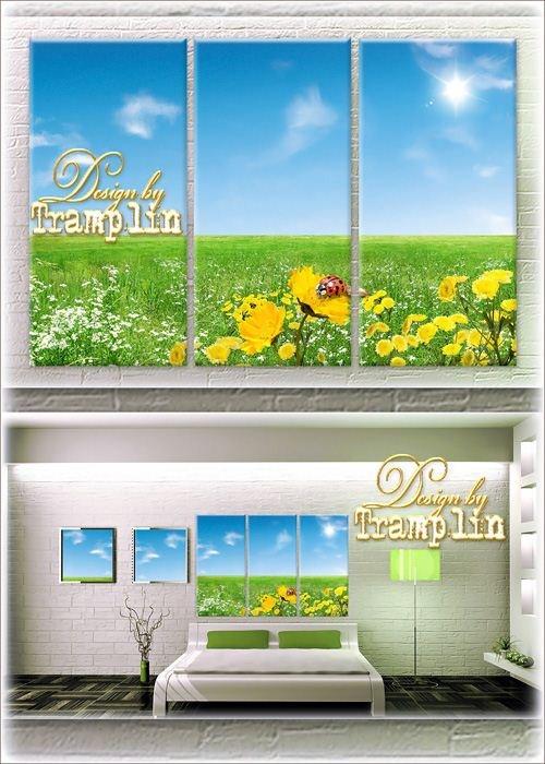 Триптих – Луговые цветы и божья коровка