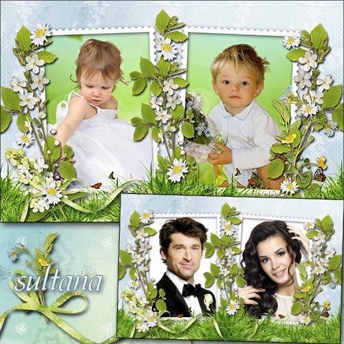 Рамочка для фото с весенними цветами на два выреза - Прекрасная весна