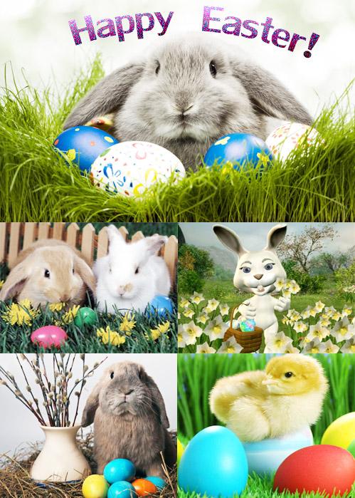 Пасхальные кролики и пасхальные яйца