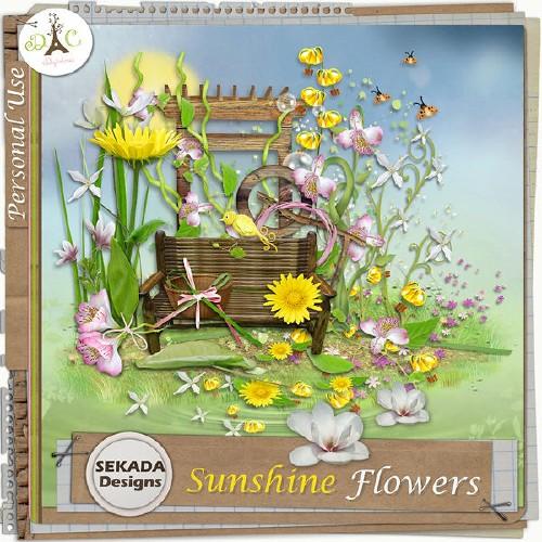 Яркий весенний скрап-набор - Солнечные цветочки