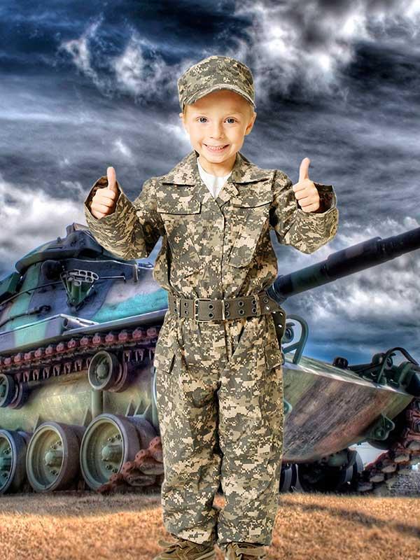 Детский фотошаблон - Маленький солдатик