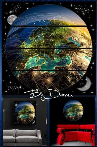 Полиптих в PSD формате   -  Земля в иллюминаторе