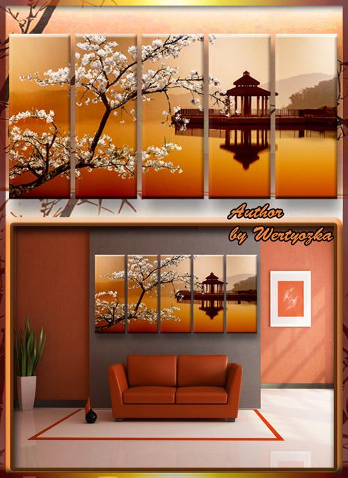 Полиптих в psd формате - Сакура, китайский домик на воде