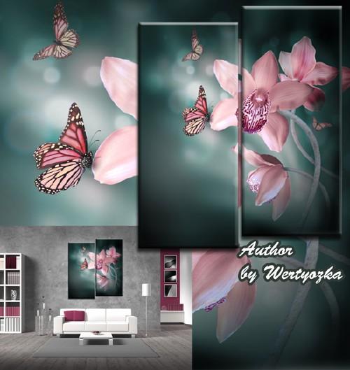 Диптих в psd формате - Экзотические цветы орхидеи и порхающие бабочки