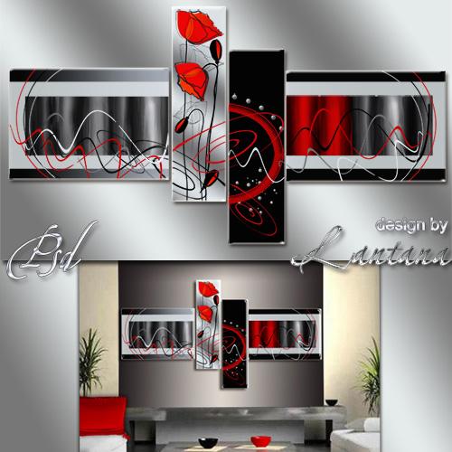 Полиптих в PSD - Красные маки и абстракция
