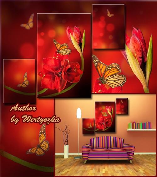 Многослойный psd исходник триптих - Кливия, красные цветы, бабочки