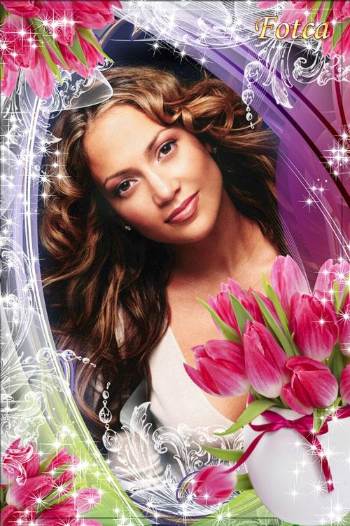 Цветочная рамка для фото - Замечательные тюльпаны