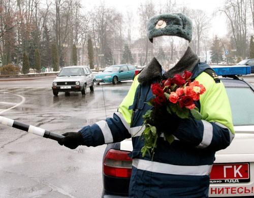 Мужской шаблон - инспектор гаи с цветами