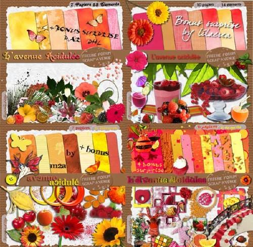 Яркий цветочный скрап-набор - Цветовая гамма