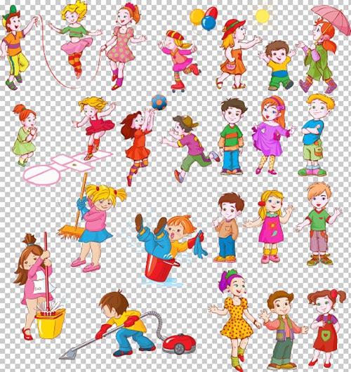 Клипарт - Дети из мультфильмов на прозрачном фоне