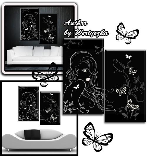 Девушка и бабочки - Модульная картина диптих в формате psd