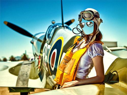 Шаблон для фотомонтажа - пилот возле самолета